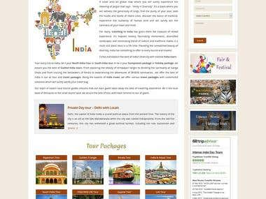 Website Design & Development for Intense India tour