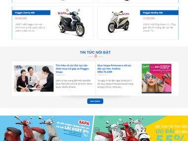 The website introduces the piaggio motorbike