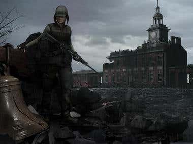 Illustration Depicting War-Torn Landscape.