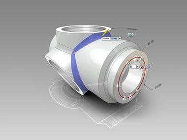 Mechanical component auto cad 3D design