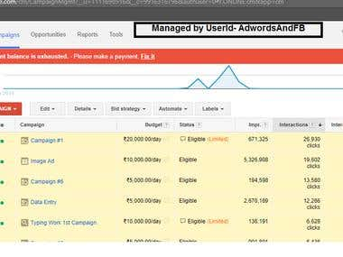 Google Adwords account managed by Us