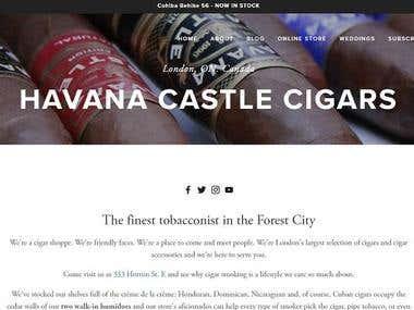 Website design for Havana Castle Cigars