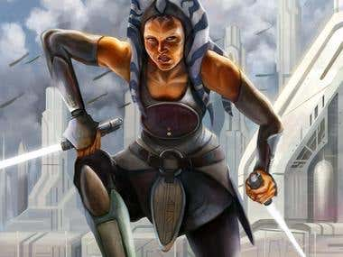 Illustration as fan art of Ahsoka Tano, Star Wars Rebels