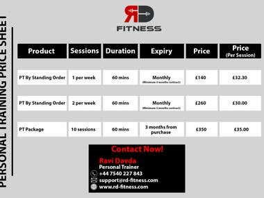 RD Fitness Price List - Graphic Designing