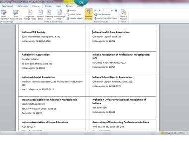 MS Word Mail Merge