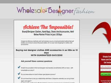 Landing page for Wholesale Designer Fashion