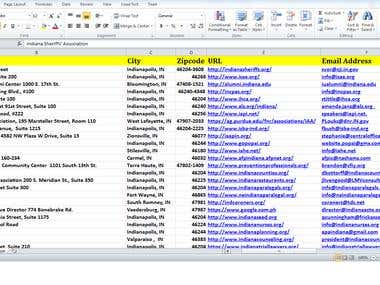 Indiana Associations Web Research and Data Entry