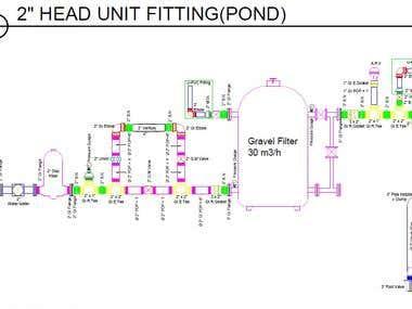Head Unit of High Efficiency Irrigation System (Autocad)