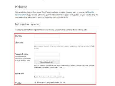 WordPress & WordPress theme Install.