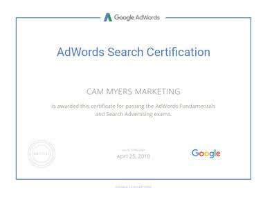 Official Google Certificate - AdWords Certification