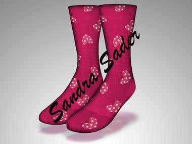 Socks design mockup - Polka-dot hearts