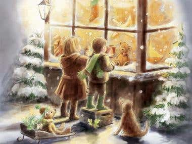 Kids at the toy shop window - Christmas card