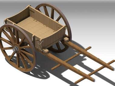 Restoring the old age 2 wheeled cart drawing and toy model.