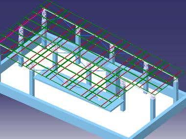 The Solar panels arrangement showing 3D model on a roof