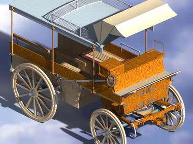 Rendered image of the restored 19th century 4 wheeled cart