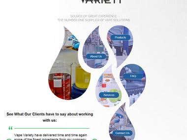 website design for E cigarette - uk based company css, html