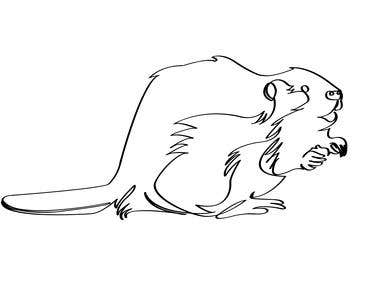 One Line Drawing Beaver