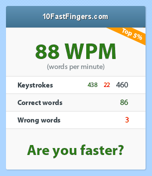 my typing speed