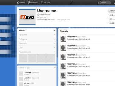 Twitter page design for FOREX market.