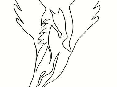 One Line Drawing Pegasus
