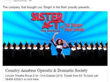 Theatre Royal Lincoln, Sister Act The Musical Paid Advert
