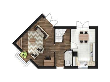 2D photoshop floor plan