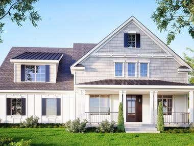 American facade rendering
