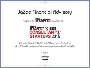 Jazaa Financial Advisory - Startup City Certificate
