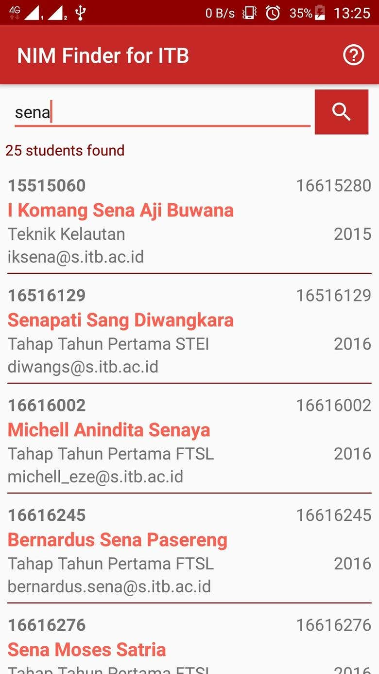 NIM Finder ITB (Student Identification Number Finder