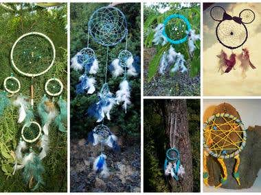Handmade different models of decorations Dream Catchers