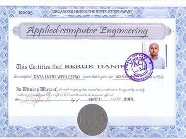 Data Entry certificate