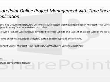 SharePoint Online Project Management with Time Sheet