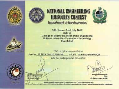 National Engineering Robotic Competition Certificate