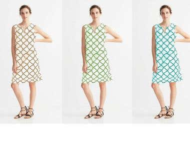 Pattern implementation on Model wearing a White Dress