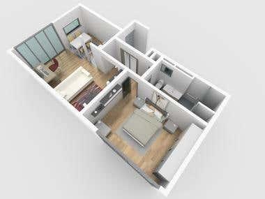 Interior Plan 3D Modeling & Rendering