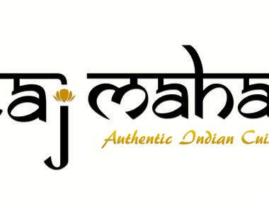 Taj Mahal Indian Cuisine Freehand Logo Concept