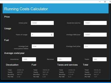Car Running Costs Calculator