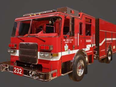 Fire Engine asset Modeling and Texturing for - ARMA Game