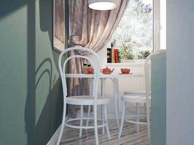 3D Vizualization of Small Dining Corner