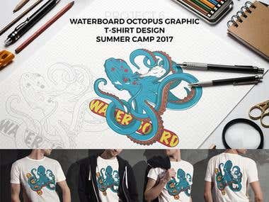 WaterBoard Octopus T-Shirt Design