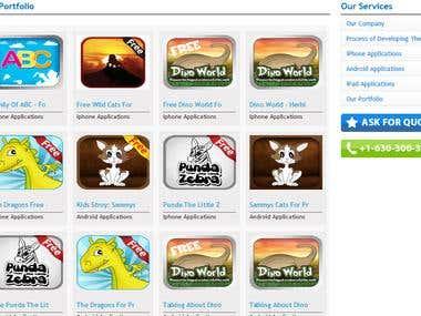 Mobile Apps; http://www.templatemagician.com/portfolio.html