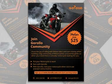 Flyer design for motorbike compay