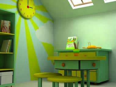3D Interior of Study room for Kids