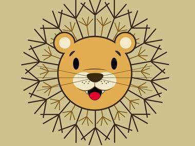 Childish lion vector design