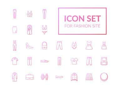Linear icon set for the fashion website.