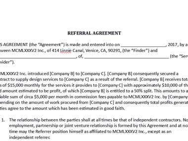 REFERRAL AGREEMENT