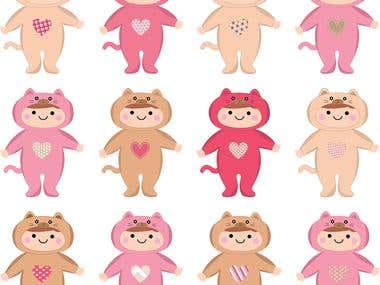Baby Cat Suit Clipart
