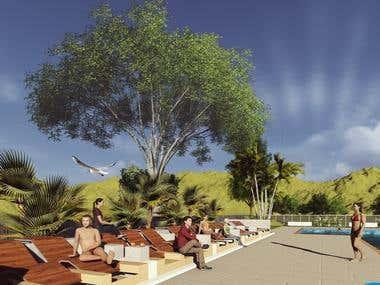 diseño de piscina publica ademas de render y presupuesto