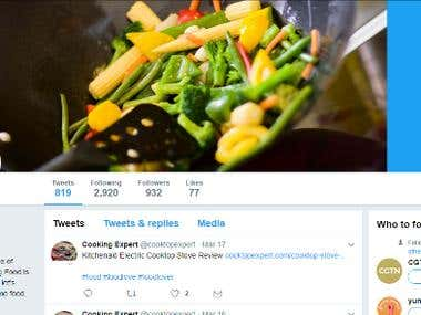 Twitter Marketing Manager for Cooking Expert