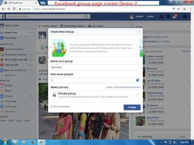 Facebook group page create